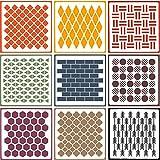 OOTSR 9 Piezas Plantillas de Pintura de Pared, DIY plantilla decorativa, Plantilla Stencil para Manualidades y Decoración(20 * 20CM)