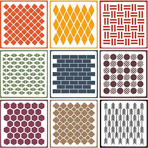 OOTSR 9 Stck Wandmalerei Schablonen, Stencil Schablonen Wiederverwendbar zum Malen auf Holz, Stein, Stoffen,Metall,Möbeln und Wänden(20 * 20 CM )