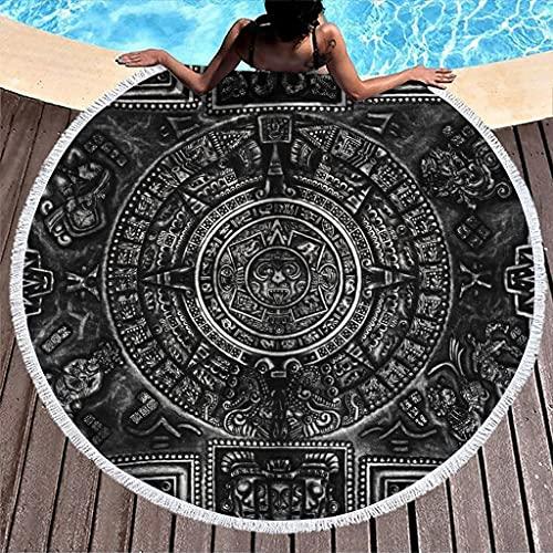 Hothotvery Toallas de playa redondas con borlas del año azteca, soles, tótem impreso, ligeras, toallas de baño para adolescentes, blancas, 150 cm