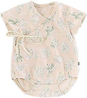 Baby nest ベビー服 夏 甚平 浴衣 ロンパース 半袖 カバーオール 新生児服 女の子 かわいい カーキ 6-9ヶ月