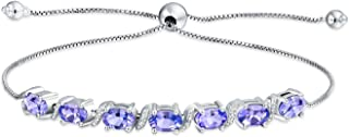 9.25 Ct Purple Lavender Oval Tanzanite Natural Zircon Bolo Tennis Bracelet For Women 925 Sterling Silver Adjustable