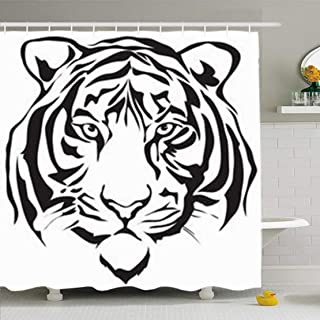 Cortinas de baño/Bath Curtain, Shower Curtains 66 x 72 Inches Face Tiger Head Silhouette Bengal Tattoo Drawing Graphic Waterproof Fabric for Bathroom Home Decor Set with Hooks