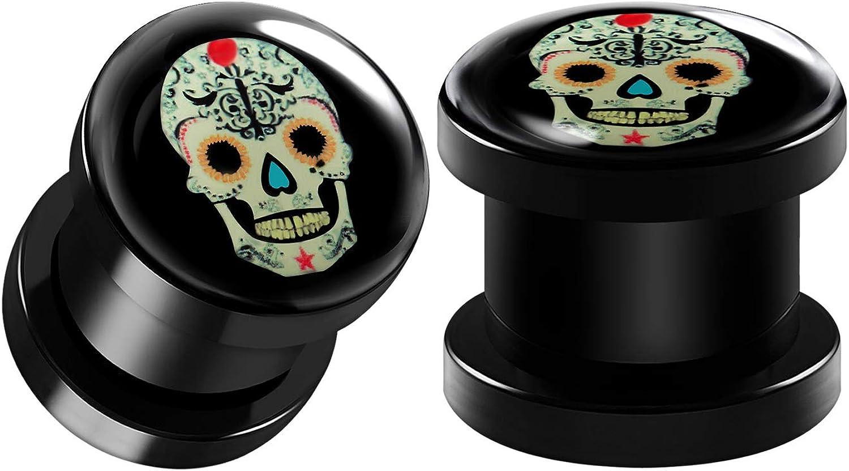 BIG GAUGES Pair of Black Acrylic Sugar Skull Logo Screw-Fit Flesh Tunnels Piercing Jewelry Stretcher Ear Earring Lobe Plugs