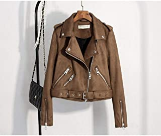 PU Chaqueta de Mujer Autumn Faux Suede Jacket Women Turn-Down Collar Slim Motorcycle Jacket Vintage Short Design PU Leather Jacket