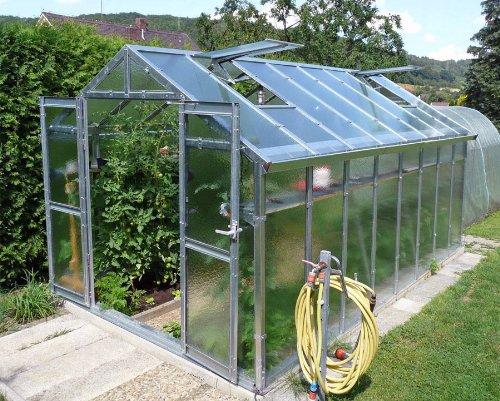 Gewächshaus mit Glas unschlagbar stabil 2,5 x 4,06 m, Konstruktion Metall verzinkt