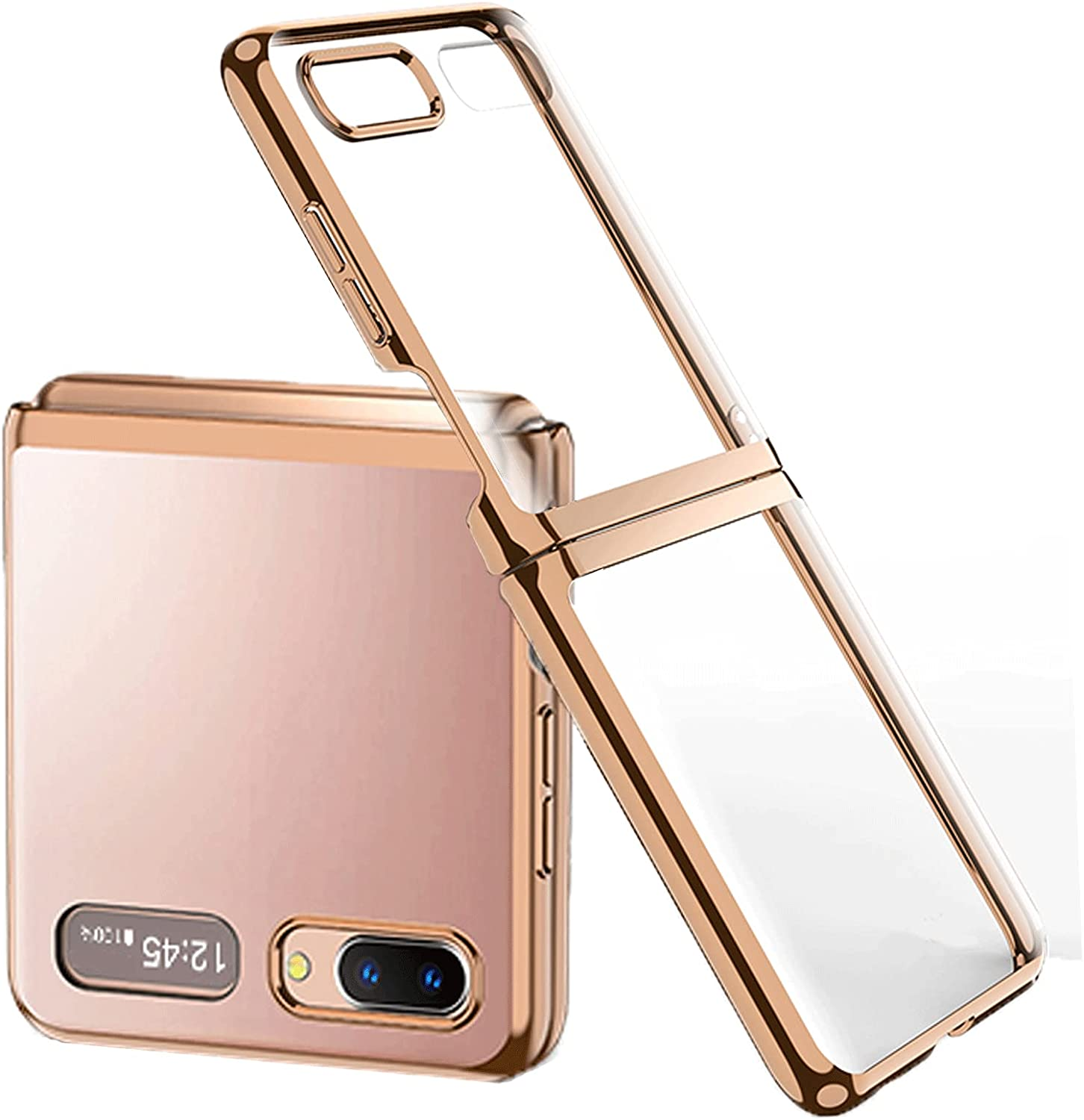 Miimall Compatible with Samsung Galaxy Z Flip 5G 2020 Case, Shockproof and Anti-Scratch Slim Thin Hard PC Bumper Protective Transparent Phone Case for Samsung Galaxy Z Flip(Gold)