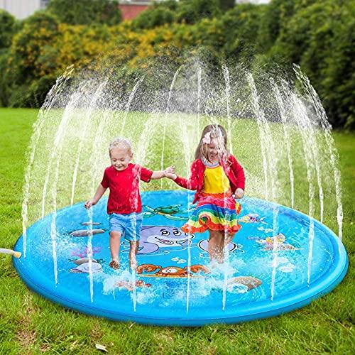 HUA JIE Splash Pad,170CM Aspersor de Juegos de Agua para Niños PVC Splash Play Mat Almohadilla de Juego de Agua para Niños para Jardín de Verano Juguetes Acuático Actividades Familiares