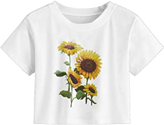 Women's Short Sleeve Cute Print Crop Top Summer Tee Shirt