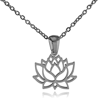 Clayton Jewelry Lotus Flower Stainless Steel Necklace