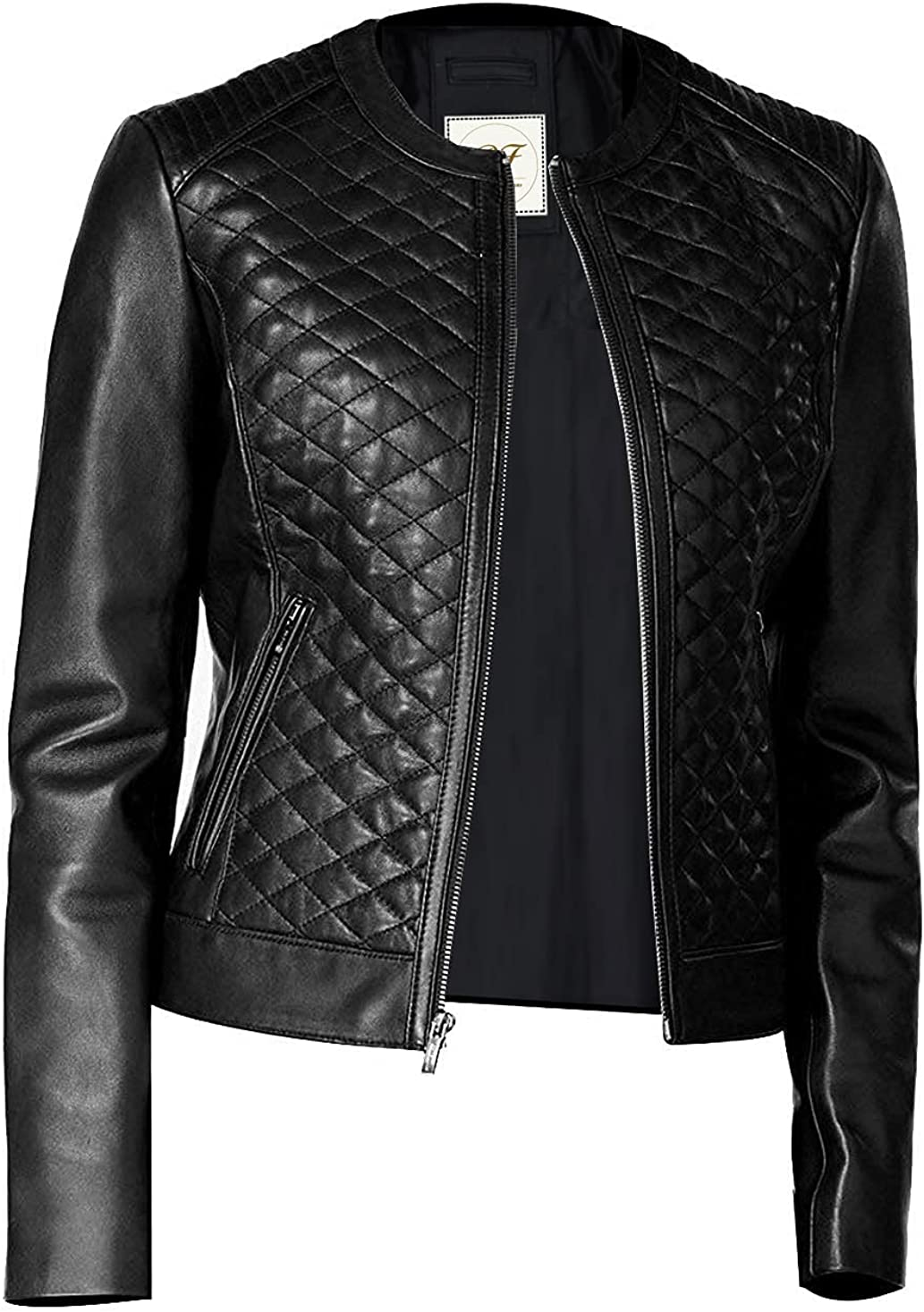 Pelletteria Factory Perfection Personified Stylish Quilted Black Faux Leather Jacket for Women
