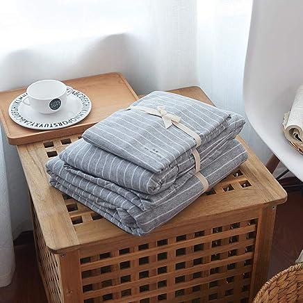 J.H.Longess 色纺针织天竺棉纯棉四件套全棉双人条纹系列床笠款1.8米床上用品 (Jx.灰白条, 床笠款 1.8米床(被套200*230cm))