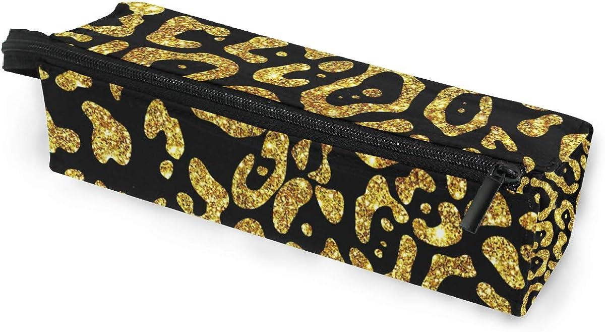 Jaguar Glitter Gold Skin Sunglasses Soft Case Zipper Eyeglass Case Storage Stationery Box