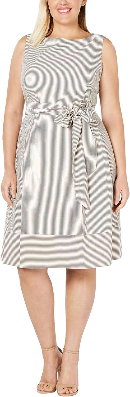 Anne Klein Women's Size Plus Seersucker Fit & Flare Dress