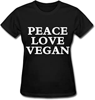 HOTHK Women's Short Sleeve T-Shirt Peace Love Vegan