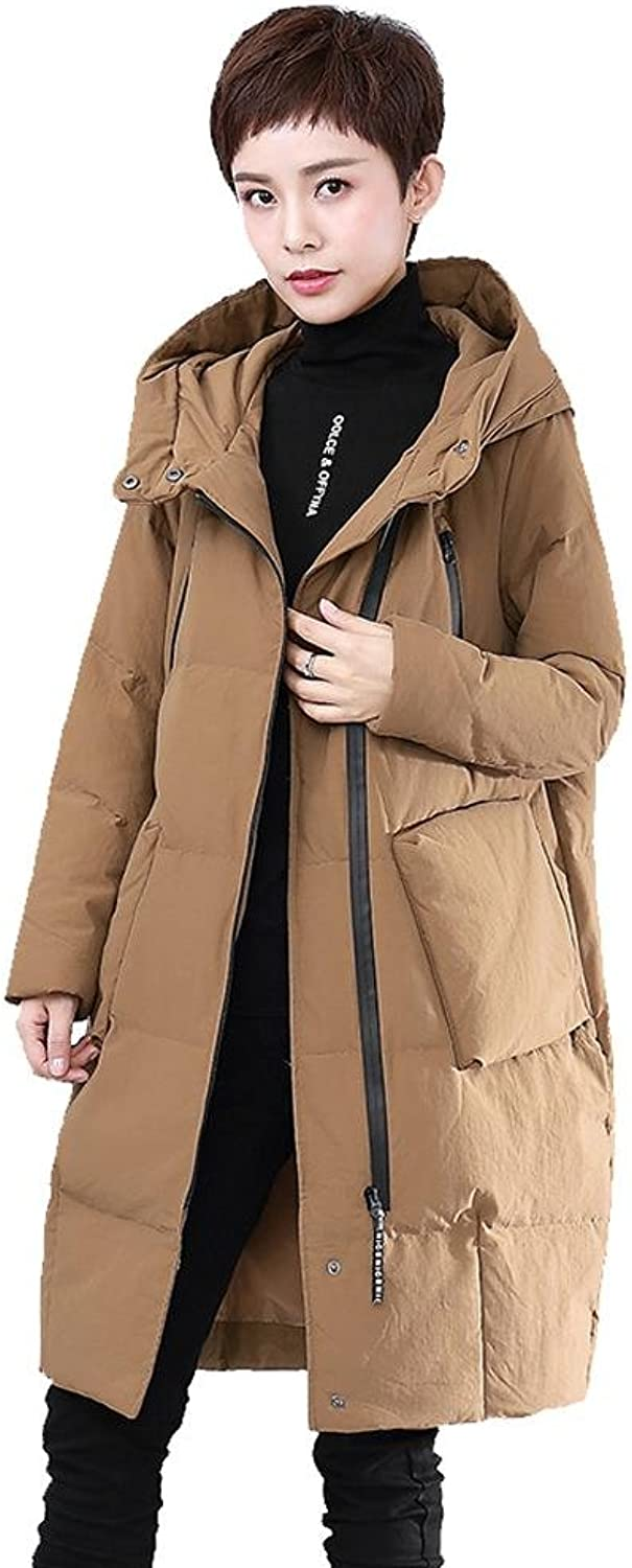 Women Warm Down Jacket Hooded Long Sleeve Zipper Pocket Puffer Coats Lightweight Windproof Parkas