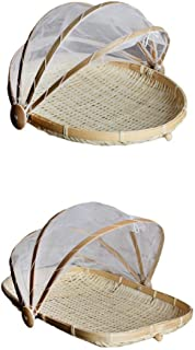 LOVIVER Pack 2 Bamboo Plate Handmade Round Fruit Baskets Storage With Cover Net S L
