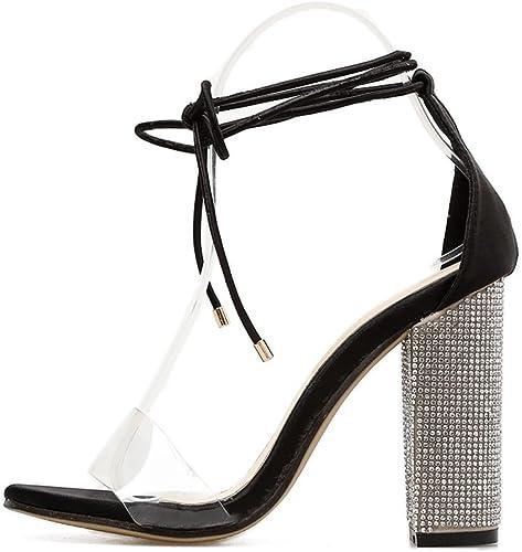 SHINIK Chaussures pour femmes Europe et les états-Unis chaussures à talons hauts strass grossier avec PVC mot bagués sandales bout ouvert bouche peu profonde chaussures