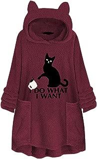 Auimank Women Fleece Embroidery Cat Ear Plus Size Hoodie Pocket Top Sweater Blouse