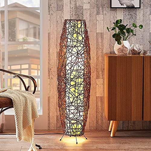 Lindby Rattan Stehlampe | Stehleuchte Höhe 111 cm mit Fußschalter | Standleuchte 2 flammig Rattan mit Stoffschirm | E27 Fassung max. 40W | ohne Leuchtmittel
