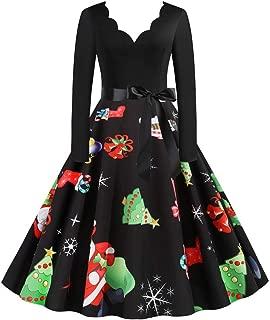 E-Scenery Vintage Dresses, Women Long Sleeve Christmas Print Evening Party Swing Dress