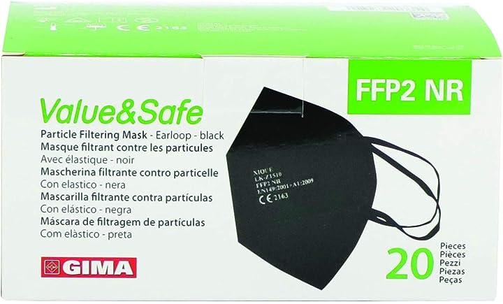 gima mascherina filtrante ffp2 value&safe, 5 strati, colore nero, ergonomica- 20 pezzi 20735/lk-z1510
