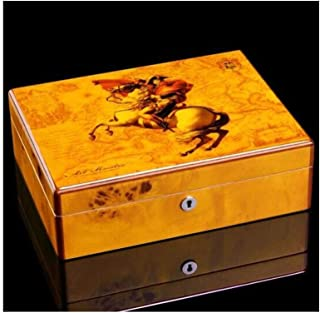 JFYHZ Cigar Box, Cedar Wood Humidor Cigar Box Can Store 50 Cigars, Cigar Humidor, Exquisite Character Pattern (Color : B)