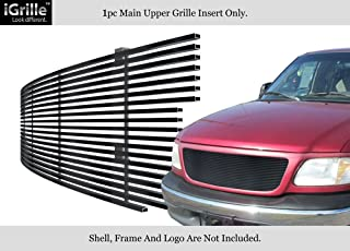 APS Compatible with 1999-2003 Ford F-150 Harley Davidson Lightning & 04 Heritage & 99-02 Expedition Main Upper Stainless Steel Black 8x6 Horizontal Billet Grille Insert N19-J27058F