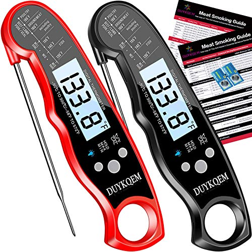 DUYKQEM Instant Read Digital Meat Thermometer (2 PACK) Waterproof Kitchen Cooking Food Thermometer with Probe Backlight & Calibration,Best Quick Grill Meat Thermometer for Grilling BBQ Smoker Chefs