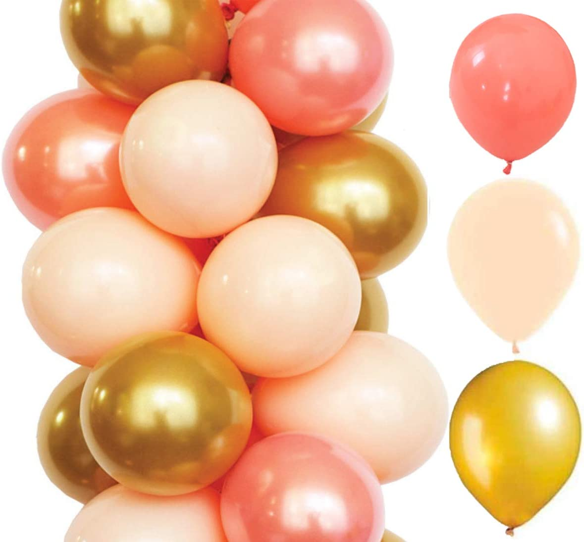 60 Pack 12 Inch Coral Peach Party Max 44% OFF Wedding Gold Birthday Balloon Free Shipping New