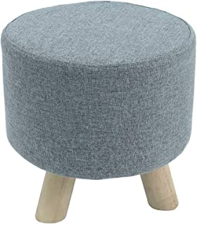 YATAI Round Footstool Ottoman Upholstered Pouffe Footrest Chair Change Shoe Solid Wooden Stool Removable Linen Cover Desig...