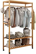 Bamboo Garment Closet Coat Rack Clothes Storage Stand Organizer Hanging Rail Shelf On Wheel Clothing Rack Portable Closet ...