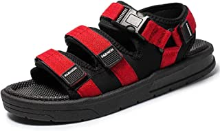 LIU-DUN SHOES Mens Outdoor Sandals Summer Water Beach Pool Slipper for Men Shoes Antislip Buckle Up Breathable Hook&Loop Strap Cloth Wear Resistant Waterproof Open Toe (Color : Red, Size : 7 UK)