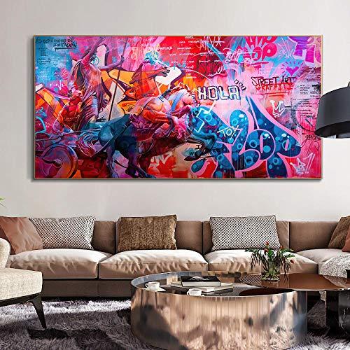 KDSMFA Pintura de Arte Abstracto Pinturas Decorativas Escultura Poster Graffiti Art Lienzo Pintura impresión e Imagen decoración de la Sala de Estar / 60x120cm (sin Marco)