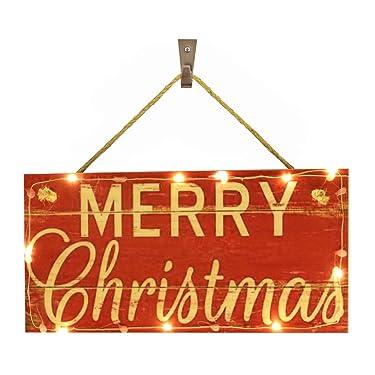 """OYEFLY - Cartel de madera para colgar con luz y texto en inglés """"Merry Christmas"""" (estilo 6)"""