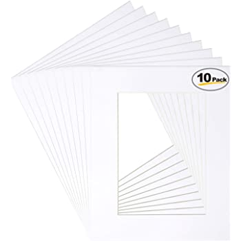 Betus 11x14 White Picture Mats, White Core Bevel Cut for 8x10 Pictures - Pack of 10