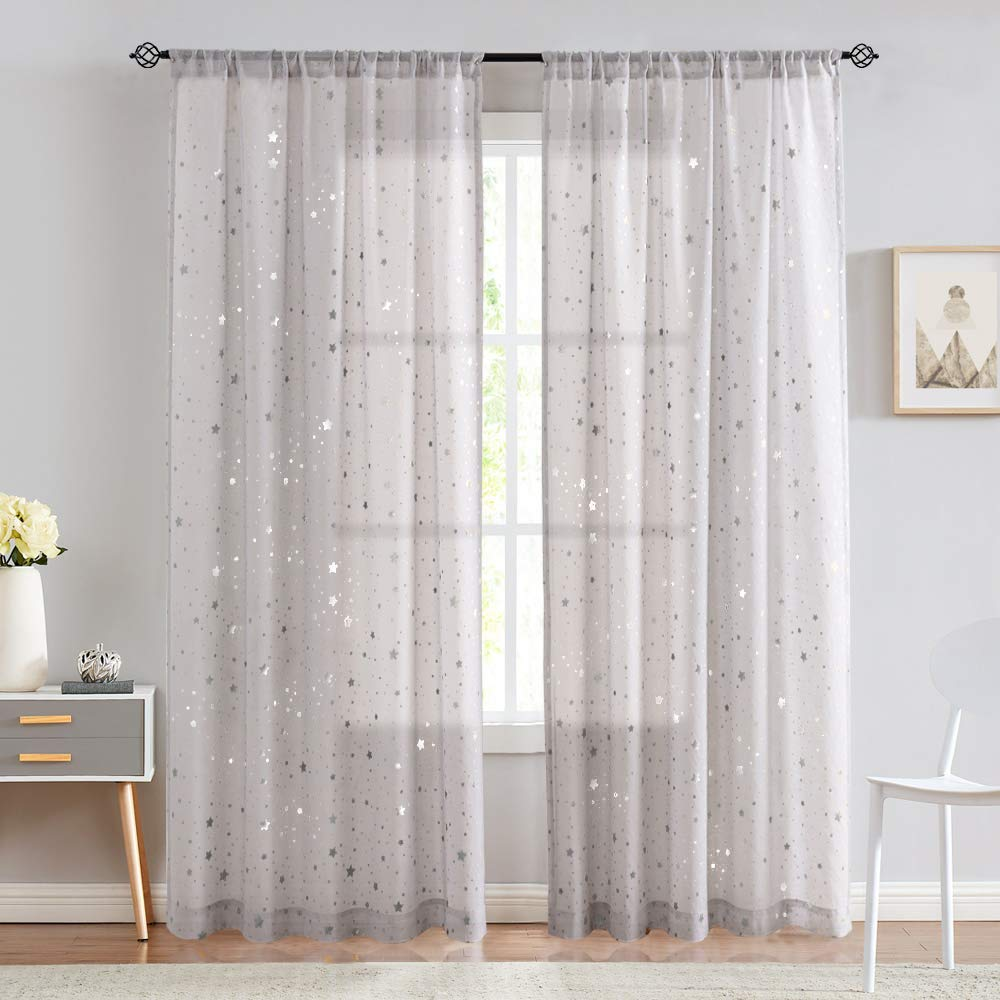 jinchan Curtains Bedroom Twinkle Textured