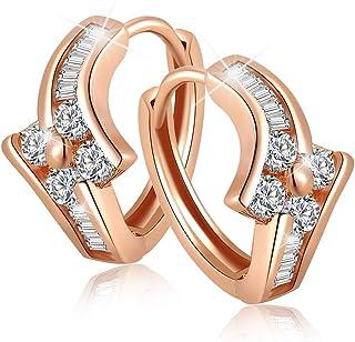 Kindle Huggie Earrings-Rose Gold/Clear