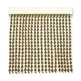Cortinas Exterior Puerta de Cordon | 72 Tiras Plastico PVC y Barra Aluminio | Ideal para Terraza y Porche | Antimoscas | Marron-Beige | 210 * 90