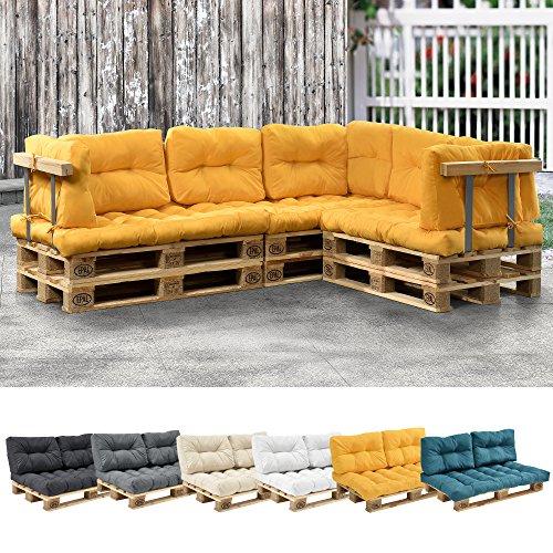 [en.casa] 1x Sitzkissen für Euro-Paletten-Sofa Senffarben Palettenkissen Auflage In/Outdoor Polster Möbel