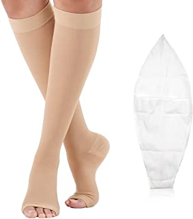 Compression Socks Open Toe 20-30 mmHg for Women Men Knee High Compression Stockings for Varicose Veins, Edema & Post Surgical with Free Auxiliary Wear Socks Sleeve M