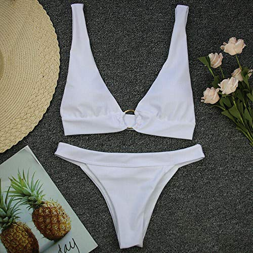 Bikini Frauen Bikini Zweiteiliger Badeanzug Badebekleidung Push-Up-BH Gepolsterter Verband Neckholder Monokini Push-Up-Badeanzug Badeanzug L White