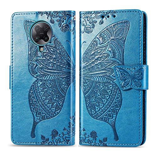 Bravoday Handyhülle für Xiaomi Redmi K30 Pro Hülle, Stoßfest PU Leder Tasche Flip Hülle Schutzhülle für Xiaomi Redmi K30 Pro, mit Kartenfäch und Kickstand, Blau