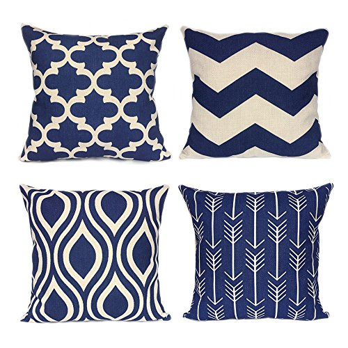 FanHomcy Navy Blue Geometric Throw Pillows Cases for Couch Decorative Cushion Covers Set of 4,18 x 18 Inch