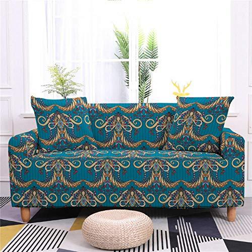 GJHGJ Funda de sofá elástica Bohemia Mandala Funda de Envoltura Ajustada Fundas Todo Incluido para Sala de Estar Funda de sofá seccional-SF011-1,4-Plazas 235-300cm