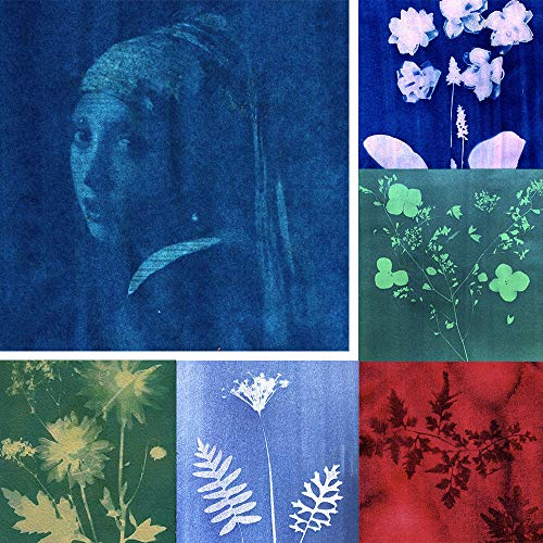 SunCreations Cyanotype Paper, High Sensitivity Sunprint Nature Printing Paper,8.2'' x 11.4'' A4 18-Sheets Sun/Solar Activated (Mixed Colors)
