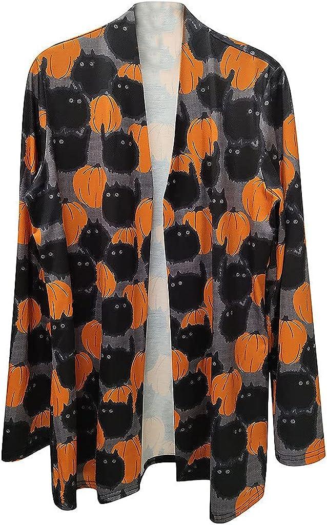 felwors Womens Halloween Cardigan, Funny Cute Pumpkin Cat Ghost Printed Long Sleeve Tops Open Front Blouse Outwear Coat