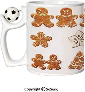 Gingerbread Man Sports Football Mug,Vivid Cute Christmas Gingerbread Biscuits Set Snowflake House Tree Decorative Ceramic Coffee Cup,Light Brown White,Great Novelty Gift for Kids & Audlt