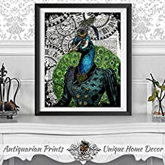 Set of 2 Art Prints Lion and Peacock Steampunk Wall Decor on Dictionary Book Pages #5