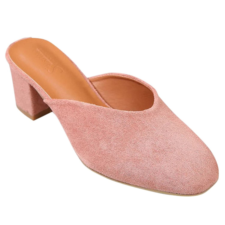 Fashion maker(F&M) ミュール サンダル レディース スクエアトゥ スリッパ 太ヒール シンプル 美脚 歩きやすい カジュアル おしゃれ