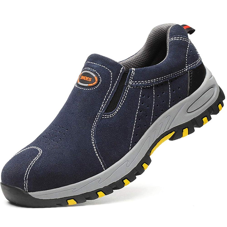 [Florai-JP] 作業靴 メンズ スニーカー 安全靴 スリッポン ローファー スエード 通気性 軽量 軽い 疲れない 滑らない 四季通用 釘防止 鋼片付き 靴底防護 普段履き対応 防刺 耐摩耗 二層底 歩きやすい 23.0-28.0cm